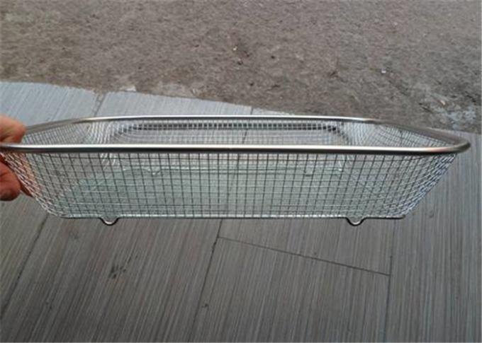 Medical Sterilizing Galvanized Stainless Steel Wire Mesh Baskets For Instrument Cleaning
