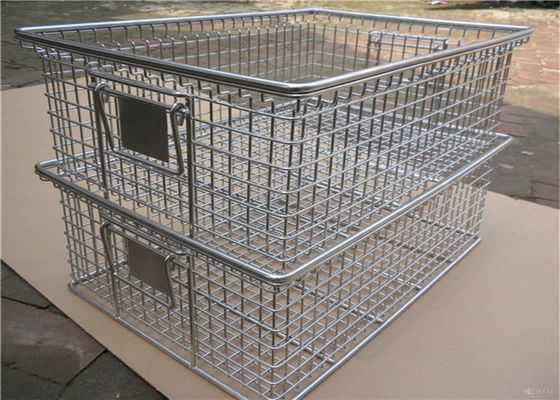 Chrome  Nesting Ss Wire Mesh Baskets Ray , 40mm - 120mm Large Square Wire Basket